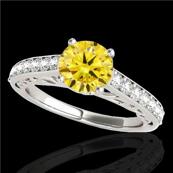 1.65 ctw Certified SI/I Fancy Intense Yellow Diamond Ring 10k White Gold - REF-245N5F