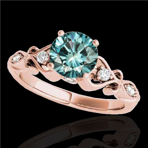 1.15 ctw SI Certified Fancy Blue Diamond Antique Ring 10k Rose Gold - REF-117A3N