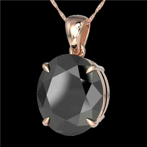 9 ctw Black Diamond Certified Designer Necklace 14k Rose Gold - REF-272H8R