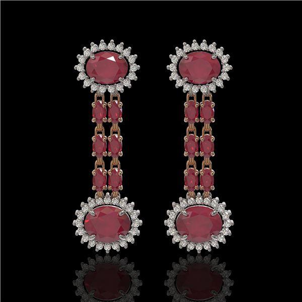 10.23 ctw Ruby & Diamond Earrings 14K Rose Gold - REF-227Y3X