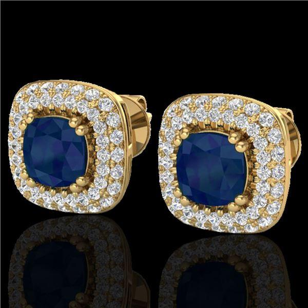 2.16 ctw Sapphire & Micro VS/SI Diamond Earrings Halo 18k Yellow Gold - REF-105K6Y