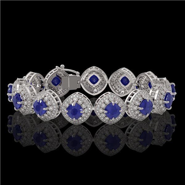 37.35 ctw Sapphire & Diamond Victorian Bracelet 14K White Gold - REF-870R9K