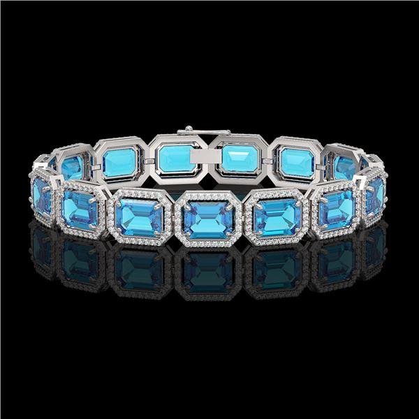 35.61 ctw Swiss Topaz & Diamond Micro Pave Halo Bracelet 10k White Gold - REF-337G3W