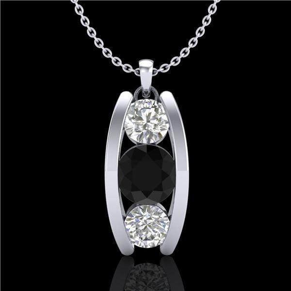 1.07 ctw Fancy Black Diamond Art Deco Stud Necklace 18k White Gold - REF-101N8F