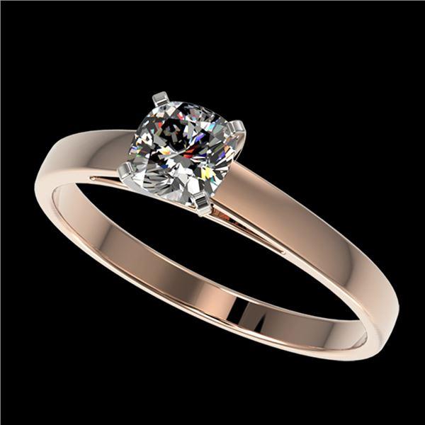 0.50 ctw Certified VS/SI Quality Cushion Cut Diamond Ring 10k Rose Gold - REF-60R3K