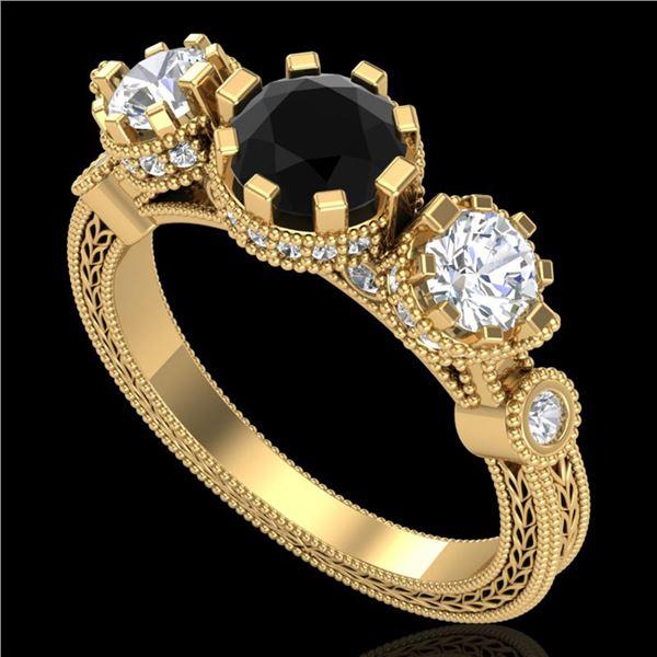 1.75 ctw Fancy Black Diamond Art Deco 3 Stone Ring 18k Yellow Gold - REF-153Y6X