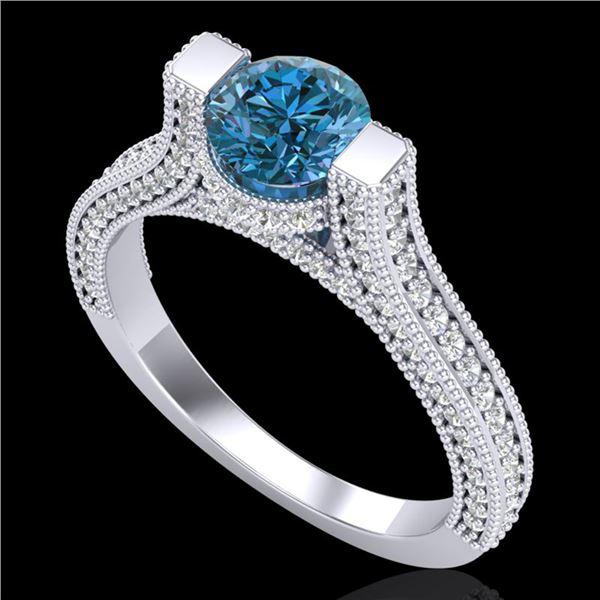 2 ctw Fancy Intense Blue Diamond Micro Pave Ring 18k White Gold - REF-200W2H
