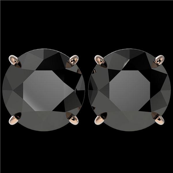5.15 ctw Fancy Black Diamond Solitaire Stud Earrings 10k Rose Gold - REF-82W2H
