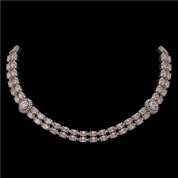 36.2 ctw Morganite & Diamond Necklace 14K White Gold - REF-527M3G