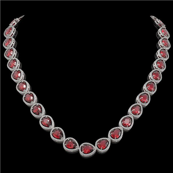 41.6 ctw Tourmaline & Diamond Micro Pave Halo Necklace 10k White Gold - REF-1072K8Y