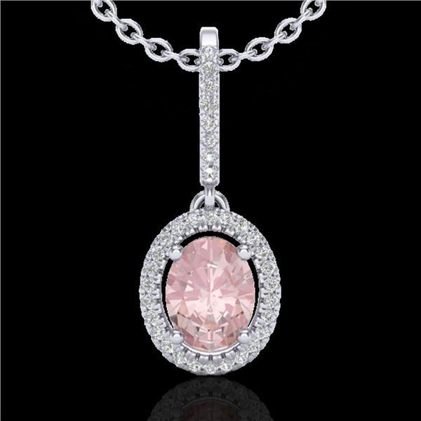 1.60 ctw Morganite & Micro VS/SI Diamond Necklace Halo 18k White Gold - REF-73G3W
