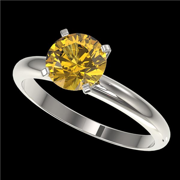 1.50 ctw Certified Intense Yellow Diamond Solitaire Ring 10k White Gold - REF-233X2A