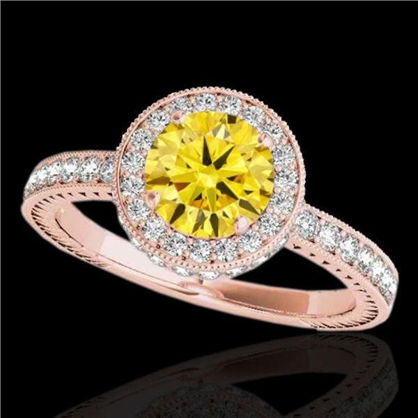 1.51 ctw Certified SI/I Fancy Intense Yellow Diamond Ring 10k Rose Gold - REF-197M8G