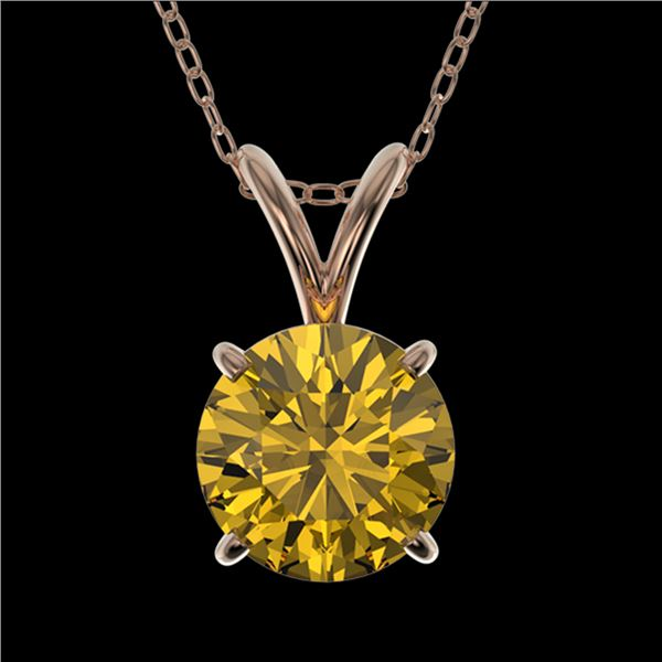 1 ctw Certified Intense Yellow Diamond Necklace 10k Rose Gold - REF-165H8R