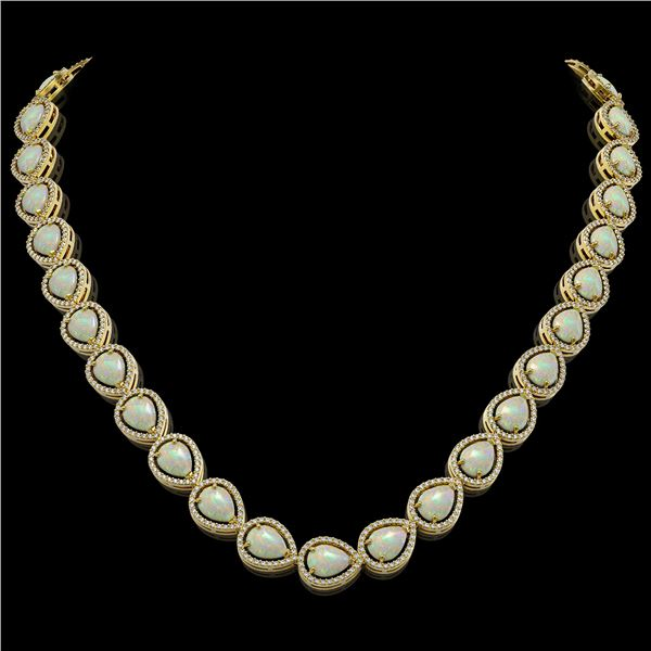 36.48 ctw Opal & Diamond Micro Pave Halo Necklace 10k Yellow Gold - REF-709K3Y