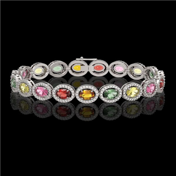 14.25 ctw Multi Color Sapphire & Diamond Micro Pave Bracelet 10k White Gold - REF-304G5W