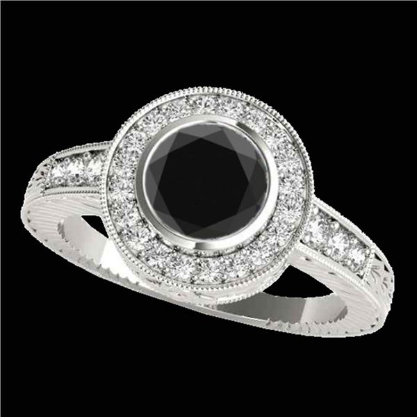 1.50 ctw Certified VS Black Diamond Solitaire Halo Ring 10k White Gold - REF-60Y8X
