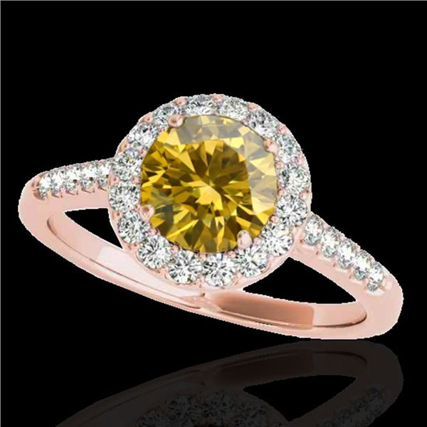 2 ctw Certified SI/I Fancy Intense Yellow Diamond Halo Ring 10k Rose Gold - REF-354X5A