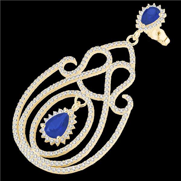 6.40 ctw Sapphire & Micro Pave VS/SI Diamond Earrings 14k Yellow Gold - REF-381F8M