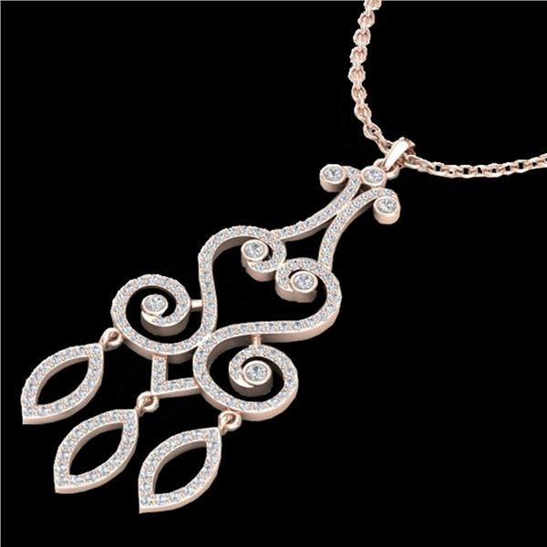 1.60 ctw VS/SI Diamond Micro Pave Designer Necklace 14k Rose Gold - REF-167R3K