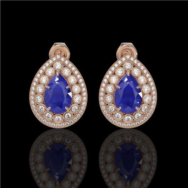 9.74 ctw Certified Sapphire & Diamond Victorian Earrings 14K Rose Gold - REF-247K5Y