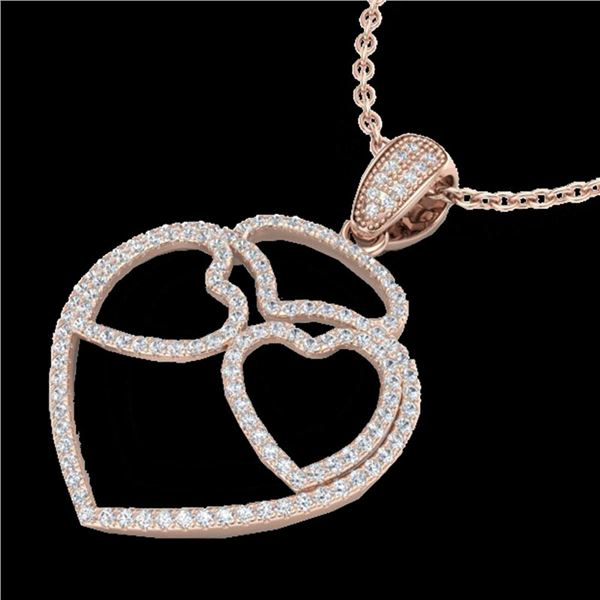 1.20 ctw Micro Pave VS/SI Diamond Heart Necklace 14k Rose Gold - REF-110H9R