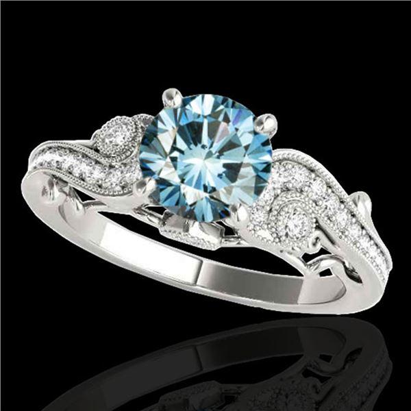1.25 ctw SI Certified Fancy Blue Diamond Antique Ring 10k White Gold - REF-117F3M