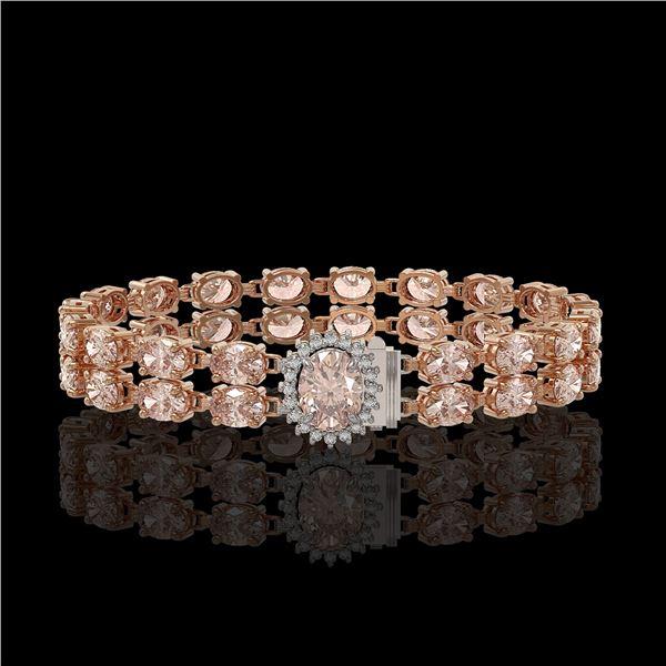 27.57 ctw Morganite & Diamond Bracelet 14K Rose Gold - REF-400F2M