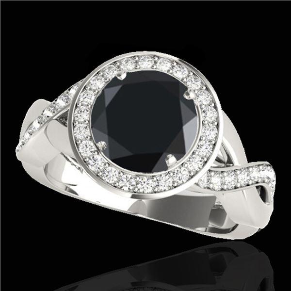 1.75 ctw Certified VS Black Diamond Solitaire Halo Ring 10k White Gold - REF-65N6F