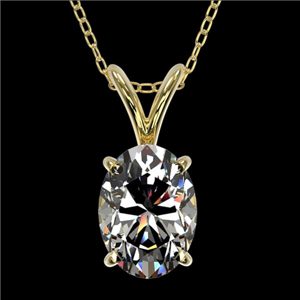 1 ctw Certified VS/SI Quality Oval Diamond Necklace 10k Yellow Gold - REF-239K3Y