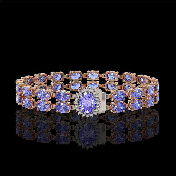 16.37 ctw Tanzanite & Diamond Bracelet 14K Rose Gold - REF-263G6W
