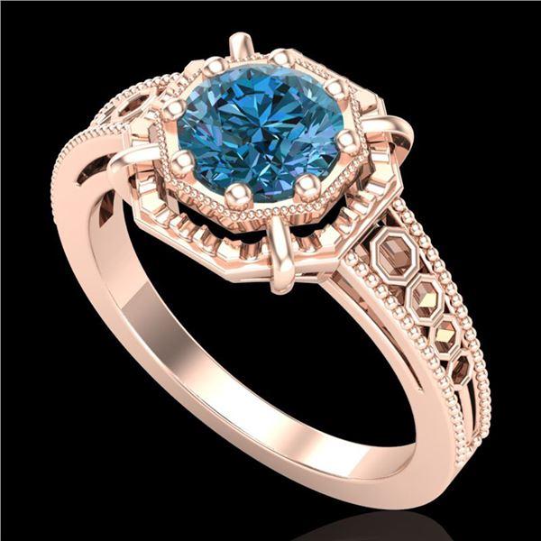 1 ctw Intense Blue Diamond Engagment Art Deco Ring 18k Rose Gold - REF-200F2M