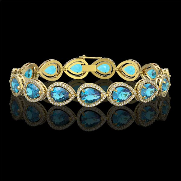 20.3 ctw Swiss Topaz & Diamond Micro Pave Halo Bracelet 10k Yellow Gold - REF-286K2Y