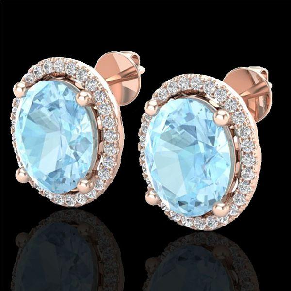 5 ctw Aquamarine & Micro Pave VS/SI Diamond Earrings 14k Rose Gold - REF-96R2K