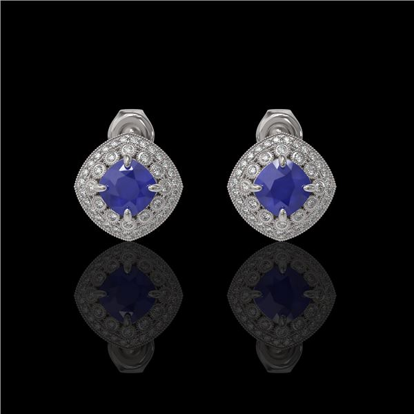 4.99 ctw Certified Sapphire & Diamond Victorian Earrings 14K White Gold - REF-117W3H
