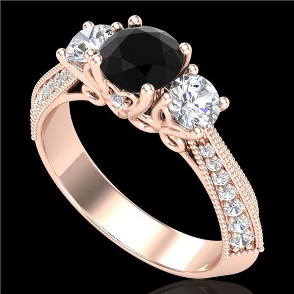 1.81 ctw Fancy Black Diamond Art Deco 3 Stone Ring 18k Rose Gold - REF-180A2N