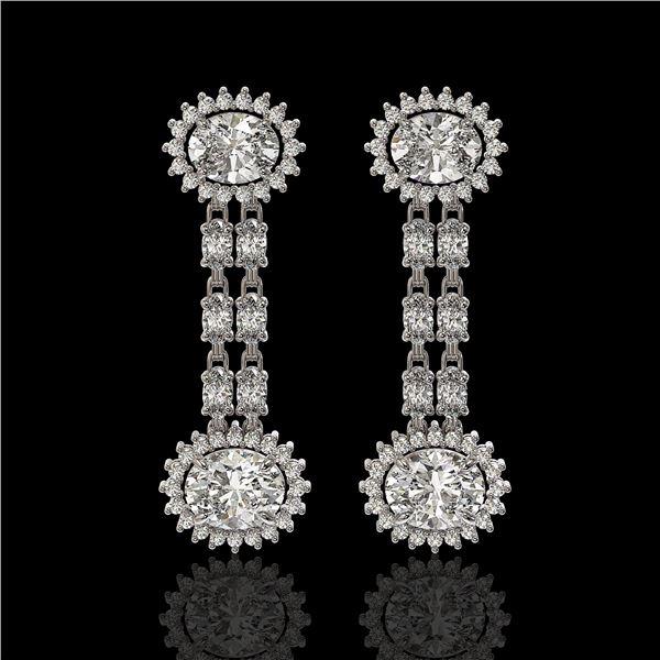 7.47 ctw Rare Oval Diamond Earrings 18K White Gold - REF-1286G8W