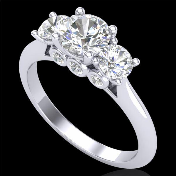 1.5 ctw VS/SI Diamond Solitaire Art Deco 3 Stone Ring 18k White Gold - REF-236R4K
