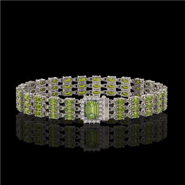 25.49 ctw Tourmaline & Diamond Bracelet 14K White Gold - REF-318F2M