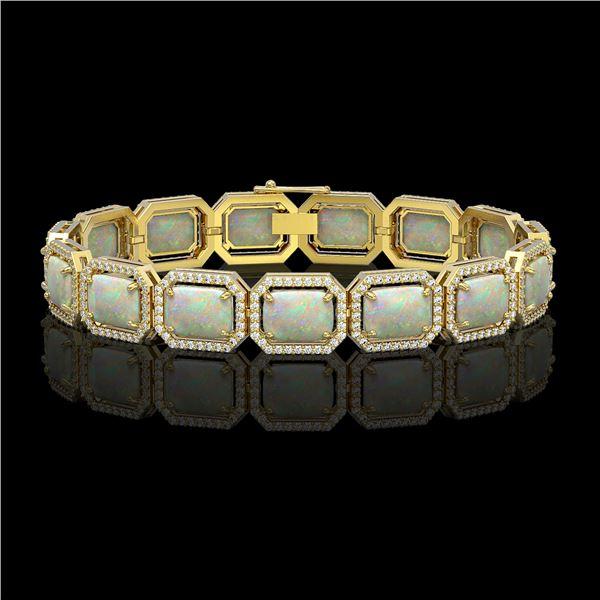 24.37 ctw Opal & Diamond Micro Pave Halo Bracelet 10k Yellow Gold - REF-372Y8X