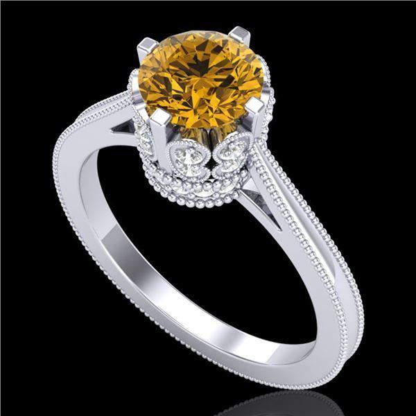 1.5 ctw Intense Fancy Yellow Diamond Art Deco Ring 18k White Gold - REF-209G3W