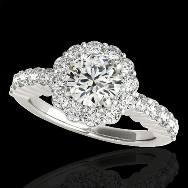 1.75 ctw Certified Diamond Solitaire Halo Ring 10k White Gold - REF-211R4K