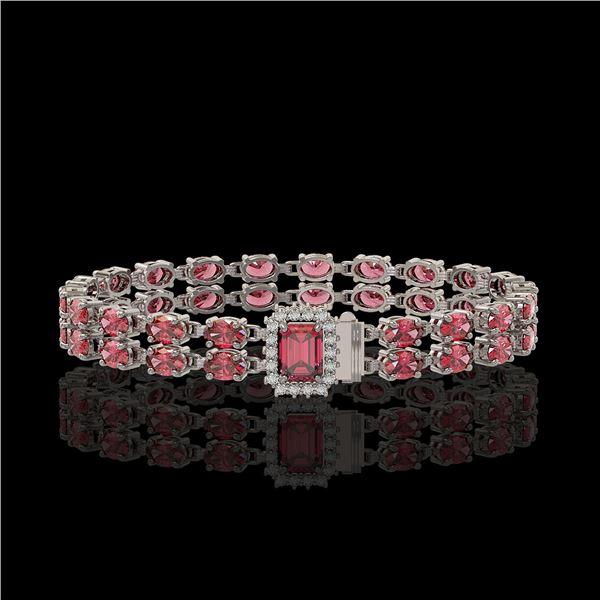 16.97 ctw Tourmaline & Diamond Bracelet 14K White Gold - REF-236R4K