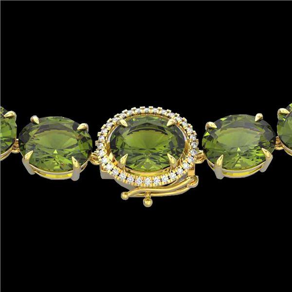 145 ctw Green Tourmaline & VS/SI Diamond Micro Necklace 14k Yellow Gold - REF-2000M2G