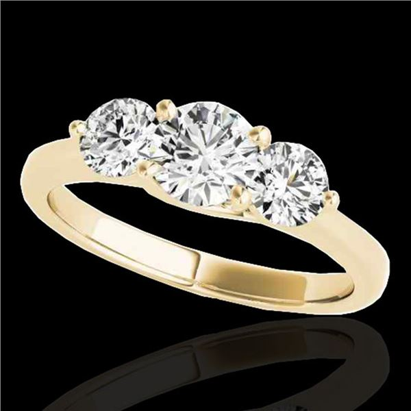 3 ctw Certified Diamond 3 Stone Solitaire Ring 10k Yellow Gold - REF-510Y8X