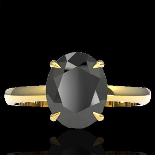 5 ctw Black Diamond Designer Ring 18k Yellow Gold - REF-161K8Y