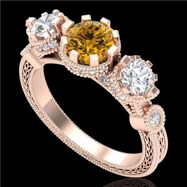 1.75 ctw Intense Fancy Yellow Diamond Art Deco Ring 18k Rose Gold - REF-227A3N
