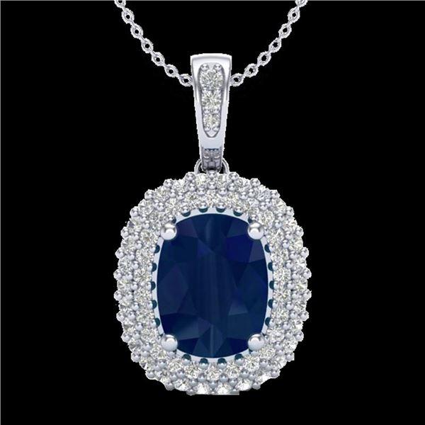 3.15 ctw Sapphire & Micro Pave VS/SI Diamond Necklace 18k White Gold - REF-90M2G