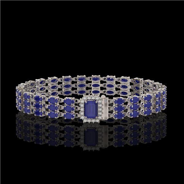 28.74 ctw Sapphire & Diamond Bracelet 14K White Gold - REF-318G2W