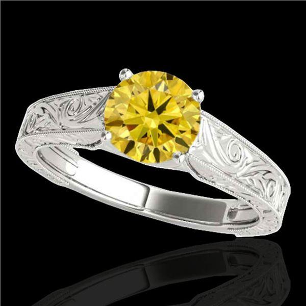 1 ctw Certified SI/I Fancy Intense Yellow Diamond Ring 10k White Gold - REF-177R3K